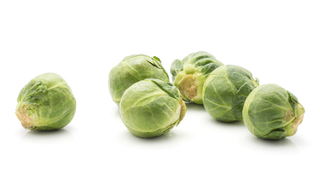 Brussels sprout isolated on white background fresh five heads