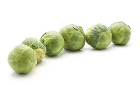 Brussels sprout isolated on white background fresh six heads