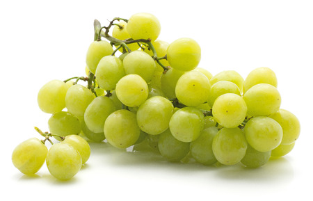 One green grape bunch (Early Sweet or Grapaes variety) with three separated berries isolated on white background