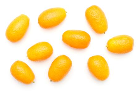 Kumquat top view isolated on white background  Imagens