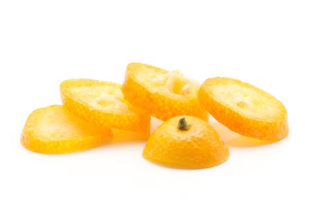 One sliced kumquat rings isolated on white background  Stock Photo