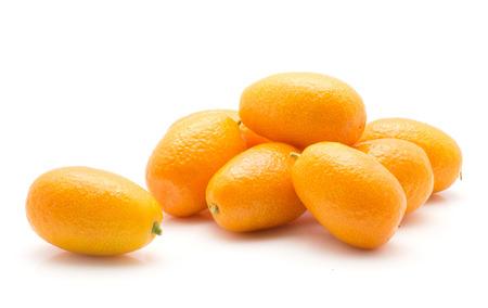 Kumquat ripe stack isolated on white background