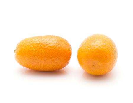 Kumquat isolated on white background two  Stock Photo