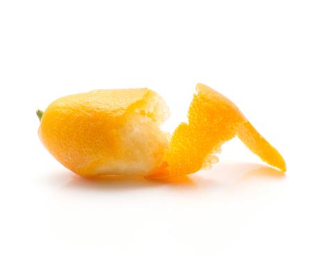 One peel kumquat isolated on white background