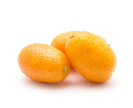 Kumquat three ripe isolated on white background  Stock Photo