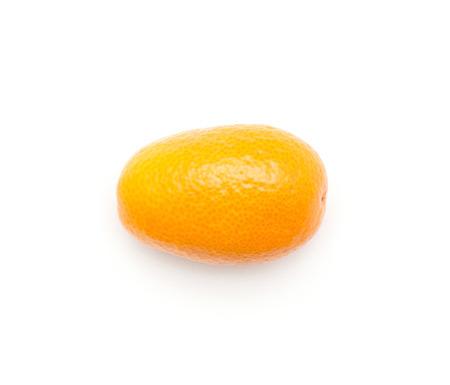 One kumquat top view isolated on white background  Stock Photo