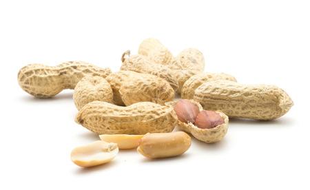 Peanut stack (shelled, unshelled, broken, halved, whole) isolated on white background  Stock Photo