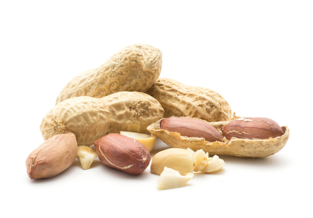 Peanuts set (open, seeds, in husk, broken pieces, three whole) isolated on white background