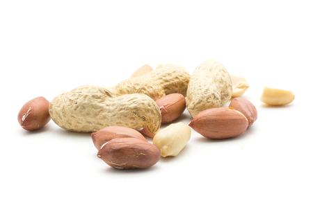 Peanuts set isolated on white background (shelled in husk, unshelled, halves without husk)  Stock Photo