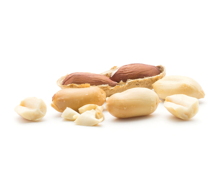 Peanuts (one open with seeds inside, other are without husk, broken pieces) isolated on white background  Stock Photo