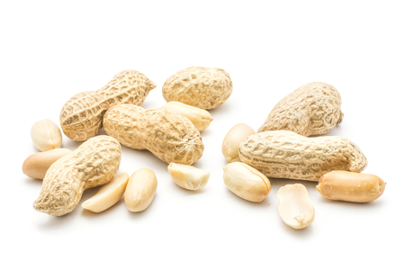 Raw peanuts isolated on white background (unshelled, shelled without husk, separated halves)  Stock Photo