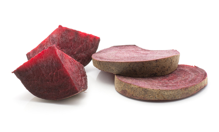 Sliced beetroot set (raw red beet) two sliced rings and two pieces isolated on white background