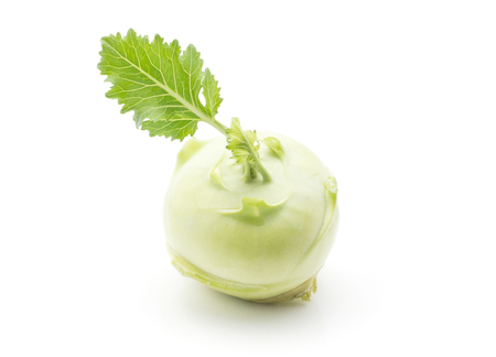 Kohlrabi (German turnip or turnip cabbage) bulb with fresh leaves isolated on white background top view  Stock Photo