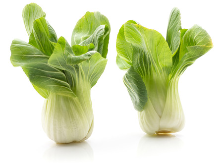 Bok choy (Pak choi) two cabbages isolated on white background fresh raw  Banco de Imagens