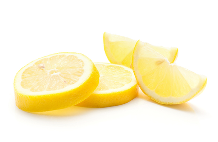 Lemon slices isolated on white background