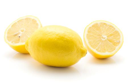Yellow lemon one whole two halves isolated on white background