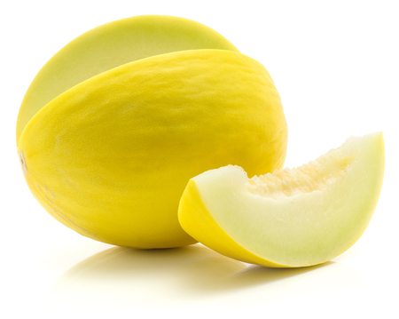 Yellow honeydew melon cut open with separated slice isolated on white background without seeds