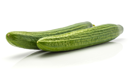 Two European cucumbers (burpless, seedless, hothouse, gourmet, greenhouse, English) isolated on white background  Stock Photo