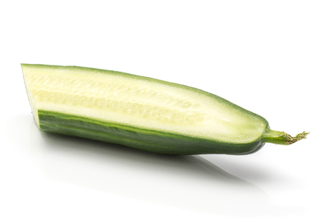 European cucumber one slice (burpless, seedless, hothouse, gourmet, greenhouse or English) isolated on white background  Stock Photo