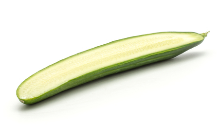 One European cucumber section half (burpless, seedless, hothouse, gourmet, greenhouse or English) isolated on white background