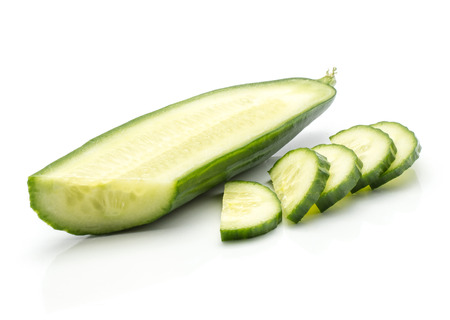 European cucumber slice with five cutting pieces (burpless, seedless, hothouse, gourmet, greenhouse or English) isolated on white background