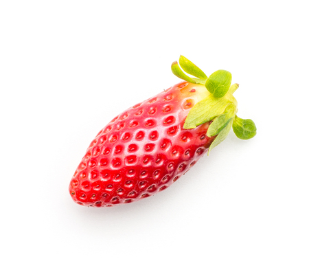 Garden strawberry top view isolated on white background long one  Stock Photo