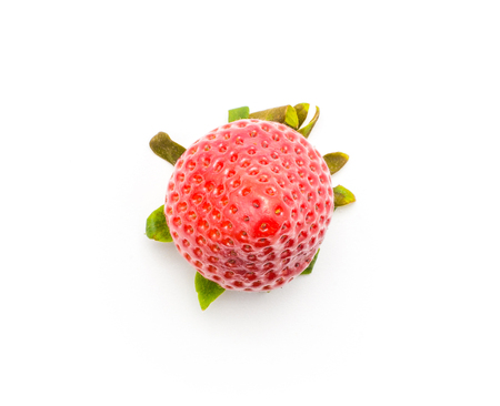 One garden strawberry top view isolated on white background  Stock Photo