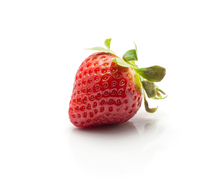 One garden strawberry isolated on white background ripe and fresh  Stock Photo