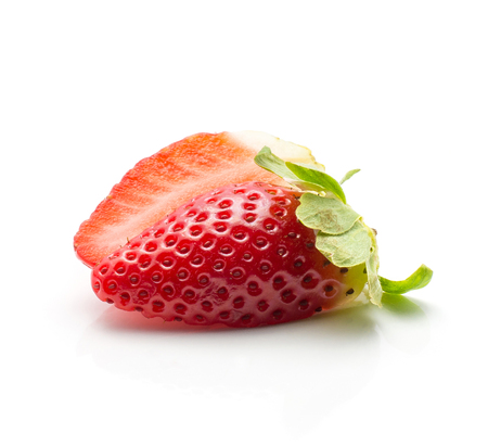 Sliced garden strawberry isolated on white background two halves  Stock Photo