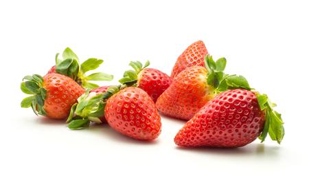 Fresh strawberries set isolated on white background