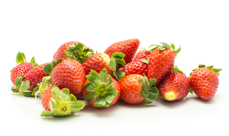 Fresh strawberries stack isolated on white background  Stock Photo