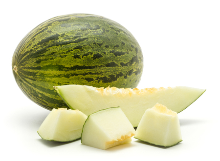 One melon Piel de Sapo with three cut pieces and one slice (Santa Claus Christmas variety) isolated on white background green striped outer rind