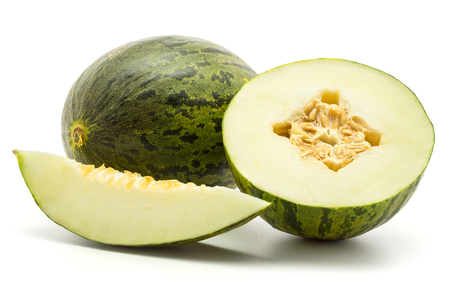Melon Piel de Sapo set (Santa Claus Christmas variety) isolated on white background green striped outer rind one whole section half one slice  Banco de Imagens