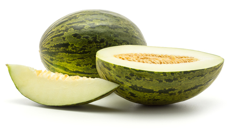 Melon Piel de Sapo set (Santa Claus Christmas variety) isolated on white background green striped outer rind one whole one section half with seeds and one slice