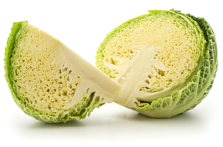 Sliced savoy cabbage one half and quarter slice isolated on white background fresh cut green