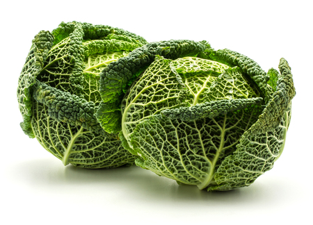 Two savoy cabbages isolated on white background fresh green heads  Stock Photo