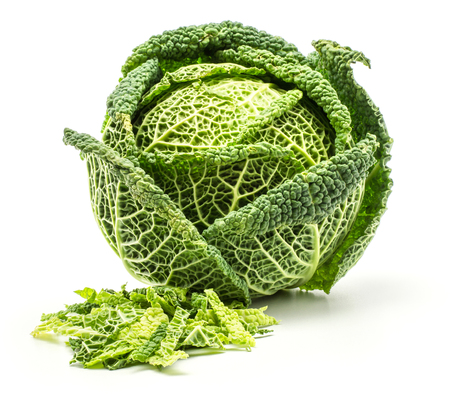 Savoy cabbage with chopped leaves stack isolated on white background one fresh green head  Stock Photo