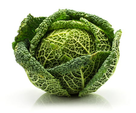 One savoy cabbage isolated on white background fresh green head