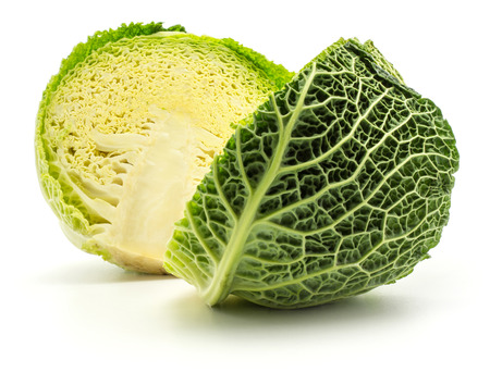 Savoy cabbage cut in half isolated on white background fresh green two halves  Stock Photo