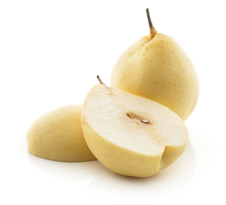 Nashi pears (Russet pear) isolated on white background one whole yellow and two section halves