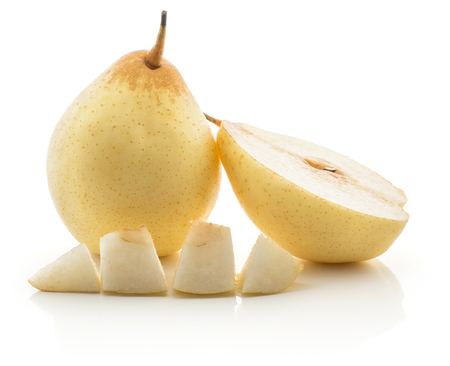 One Nashi pear with a half and a slice cut in four pieces (Russet pear) isolated on white background yellow textured flesh