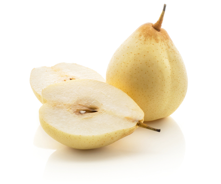 One Nashi pear and two halves (Russet pear) isolated on white background yellow set  Stock Photo