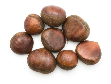 European chestnuts Spanish edible top view isolated on white background raw fresh brown nuts