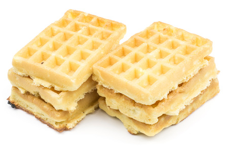 Traditional waffle (Belgian) isolated on white background six sweet delicate and airy