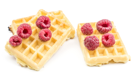 Traditional waffle (Belgian) with fresh red raspberries isolated on white background three sweet delicate airy