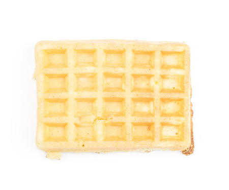 Traditional waffle (Belgian) top view isolated on white background one sweet delicate and airy