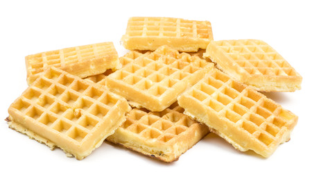 Traditional waffle (Belgian) stack isolated on white background sweet delicate and airy  Stock Photo