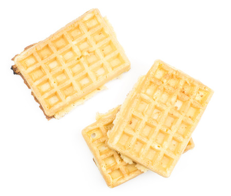 Traditional waffle (Belgian) top view isolated on white background three sweet delicate and airy