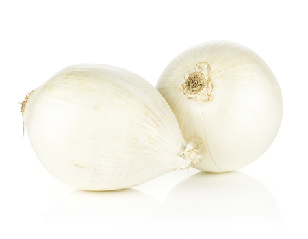 White onion two pearls isolated on white background shiny fresh