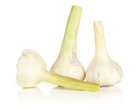 Three young garlic bulbs with green stems isolated on white background  Stock Photo
